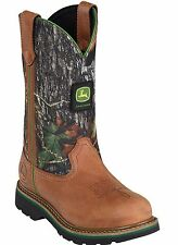 John Deere Womens JD3288 Tan Full Grained Leather Mossy Oak Top Wellington Boots