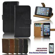 TOP Quality PU Leather Wallet Case Cover for iPhone 5 iPhone 5s FREE Protector