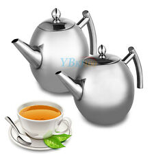 1L / 1.5L Stainless Steel Teapot Tea Pot Coffee + Tea Leaf Filter Infuser Silver