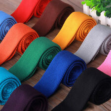 """Stylish Mens Solid Color Slim Skinny Woven Knit Knitted Tie Narrow Necktie 57"""" D"""