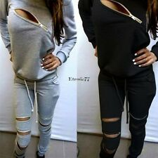 Fashion Womens Long Sleeve Tracksuit Hoodie Sweats Sweatshirt Pants Sports EA77
