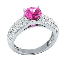 2.25 ct Pink Sapphire & White Sapphire Solid Gold Wedding Engagement Ring