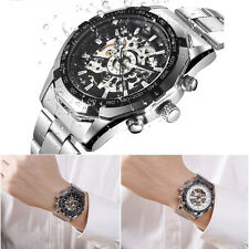 HOT LUXURY Automatic Mechanical Dial Men Skeleton Stainless Steel Wrist Watch ZT