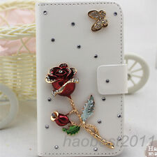 Bling Luxury red rose flower Diamonds Crystal PU Leather flip slot Cover Case #K