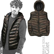 Brave Soul BS238 Blackburn Khaki Camouflage Print Quilted Hoody Bodywarmer Gilet