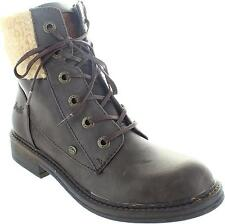 Blowfish Fader Womens Brown Faux Fur Trim Zip Up Ankle Combat Military Boots New