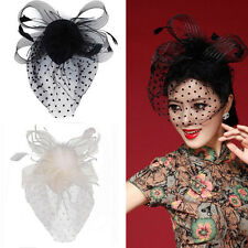 Party Fascinator Veil Decor Hair Accessory Feather Lace Hat with Clip for Women
