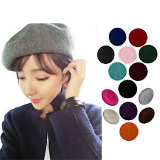 Women Sweet Warm Wool Winter Beret French Artist Beanie Hat Ski Cap Solid Hat