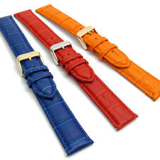 Extra Long XL Leather Watch Strap 18mm 20mm 22mm 24mm Coloured Padded Croc Grain