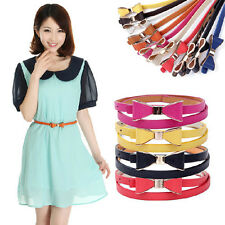 Fashion New Women Candy Color Bow Waistband Leather Thin Skinny Buckle Belt 0m