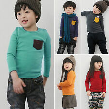 Autumn Kids Baby Boy Girls Long Sleeve Crew Neck T-shirt Pocket Tee Shirt Tops
