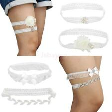 Crystal Leaf Trim Flower Wedding Bridal Garter Set Romantic Gift for Special One