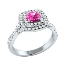 0.90 ct Pink Sapphire & White Sapphire Solid Gold Wedding Engagement Ring