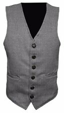 Light * Grey Mens Wool Tweed Slim Fitted Vest Waistcoat S M L XL