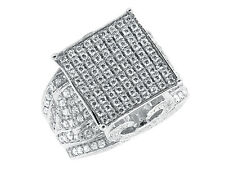 White Gold Finish XL Pave Simulated Diamond Round Top Engagement Wedding Ring