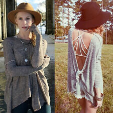 New Fashion Blouse Casual Gray Long Sleeve Backless Batwing Dolman Tops Blouse