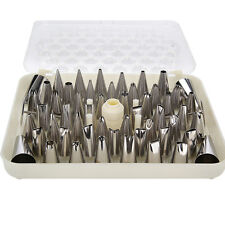 52Pcs Stainless Steel Cake Decorating Piping Nozzles Tips Set & Coupler Nails