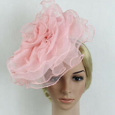 Lady Women Hair Accessory Fascinator Large Netting Flower Wedding Headband