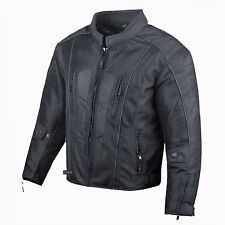 Men's Cyber Waterproof 6 Pockets Motorcycle Mesh Armor Rain Jacket Black