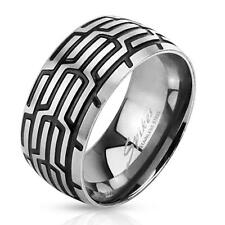 Stainless Steel Ring Silver Black 0 3/8in wide Tire pattern 60 (19) ? 72 (23)