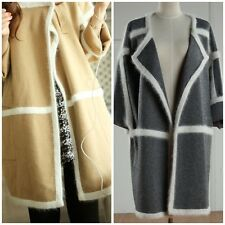 Contrast Trim Wool Cashmere Knit Coat Grey or Brown