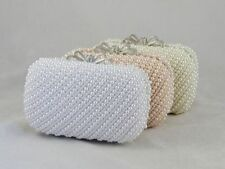 Bridal White Encrusted Pearls Crystal Bow Wedding Evening Clutch Purse 3 Colors