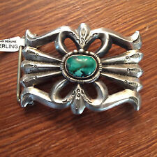 Native American Navajo Sterling Silver Sand Cast Belt Buckle/Turquoise Stone