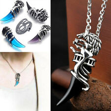 3Color Cool Unisex Men Stainless Wolf Tooth Venturer Pendant Chain Necklace Gift