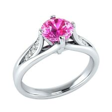 0.70 ct Pink Sapphire & White Sapphire Solid Gold Wedding Engagement Ring