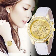 Womens Watches Crystals Classic Faux Leather Round Dials Quartz Ladies Watch