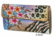 Sova Hand Painted Credit Card Checkbook Wallet
