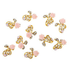 10pcs 3D Nail Art Silver Gold Rhinestone Pink Colorful Flower Metal
