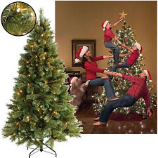 GREEN 6FT 7FT CHRISTMAS PRE LIT TREE METAL STAND WARM WHITE LEDS INDOOR OUTDOOR