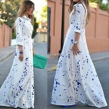 2016 Fashion Women sexy Chiffon Long Sleeve Polka Dot Long Maxi Shirt Dress UTAR
