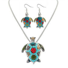 Tortoise Charm Pendant Silver Gold Necklace Enamel Beads Earrings Jewelry Sets