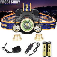 15000LM Headlamp CREE XM-L 3x T6 LED Headlight 18650 ZOOM Light +Battery Charger