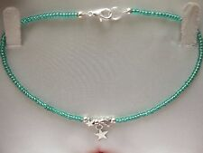 Star Bead Charm Teal Green Glass Seed Bead Anklet/Ankle Bracelet