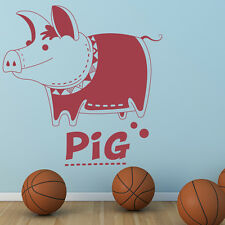 Cartoon Pig Named Clothed Farmyard Animals Wall Stickers Kids Decor Art Decals