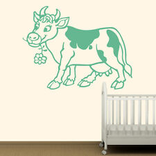 Cartoon Cow With Daisy Farmyard Animals Wall Stickers Kids Decor Art Decals