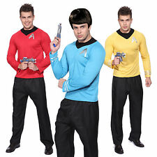 Mens Red Blue Star Trek Uniform Captain Scotty Kirk Spock Costume Fancy Dress