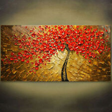 Modern Abstract Huge hand-painted Art Oil Painting Wall Decor canvas,red flowers
