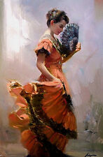 Pino Daeni,Handcraft impression Portrait Oil Painting on Canvas,Dancers taking