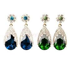 Women Ladies Elegant Wedding Prom Dangle Crystal Gemstone Drop Ear Stud Earrings