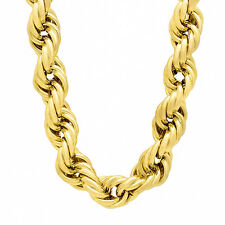 Men's 14 mm Wide Yellow Gold Plated 14k Overlay Dookie Rope Hip Hop Neck Chain