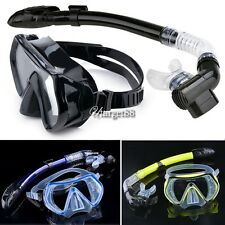 Scuba Diving Snorkeling Mask Dry Snorkel Water Sports Gear Combo Set New UTAR