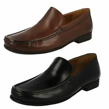 Mens Clarks Slip On Moccasin Leather Wide Fitting Shoes - Claude Plain