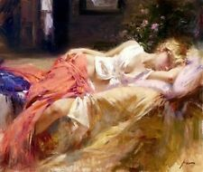 Pino Daeni Handcraft Portrait Oil Painting Wall Art on Canvas Sexy Woman 24x36''