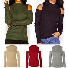 Women Sexy High Neck Cut Out Sleeves Rib Knit Sweater Long Sleeve Jumper T-shirt