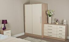 Vienna High Gloss Cream on Oak Bedroom Furniture Set Wardrobe Drawers Bedside