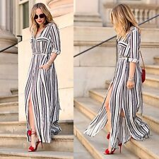 Women Striped Side Slits Maxi Dress Cocktail Sexy Party Evening Long Sleeve D0X8